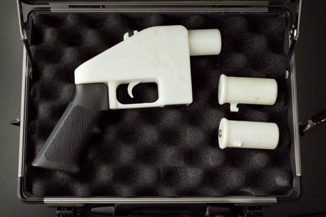 3D printed gun in a case